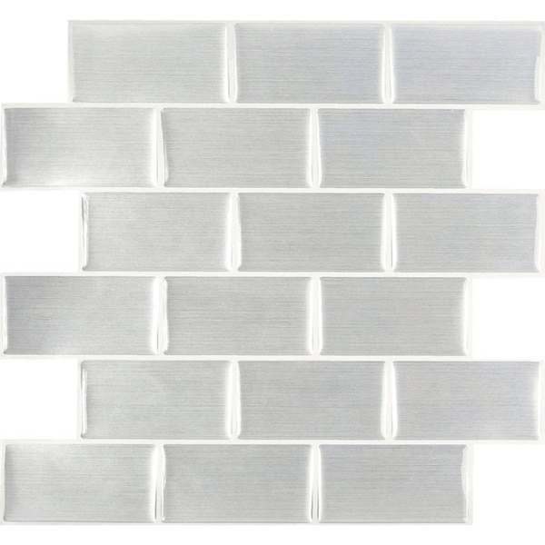 Peel and Impress  Vinyl  Adhesive Wall Tile  10 in. W x 11.3 in. L Steel Subway  4 pk 33770911
