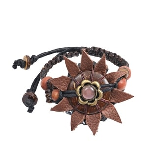 Handmade Leather Sunflower Wooden Bead Accents Adjustable Bracelet (Thailand)