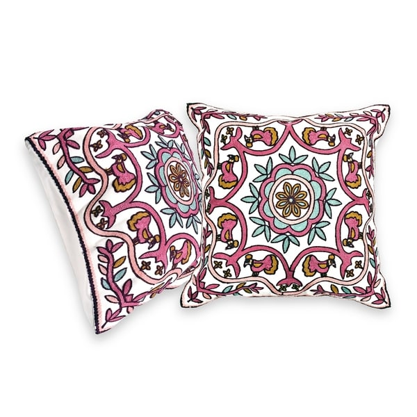 Embroidered Flower Centerpiece Bird Accents Throw Pillow Cover Set 33779021
