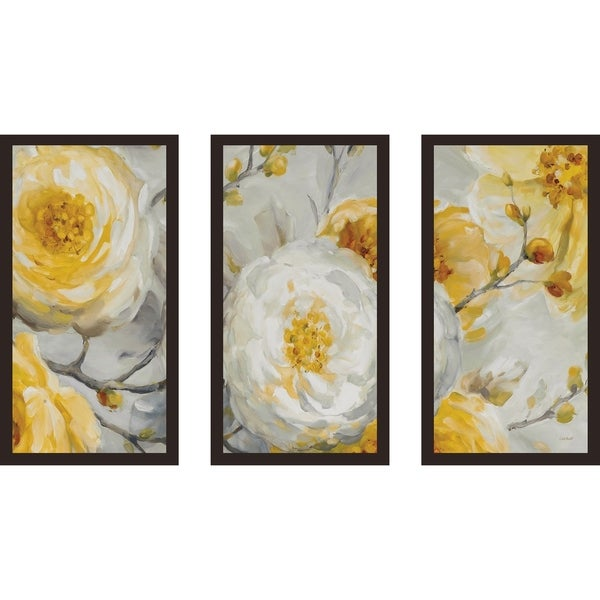 "Lisa Audit ""Sunshine"" Floral Framed Acrylic Wall Art Set of 3 33779095"