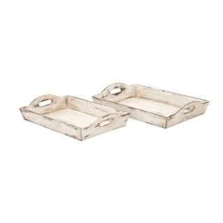 Benzara Distressed Wooden Serving Trays with Handles, Set of 2, White