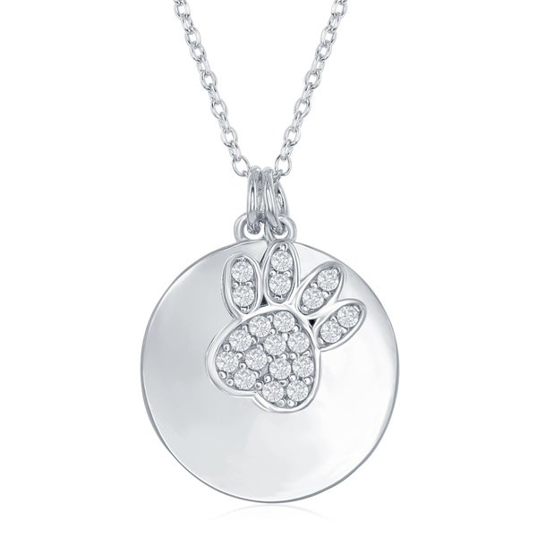 "La Preciosa  Sterling Silver Shiny Engravable Disc W/ Cubic Zirconia Bear Paw 16+2"" Necklace 33785631"