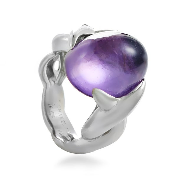 Chanel Women's White Gold Amethyst Cabochon Ring 33792412