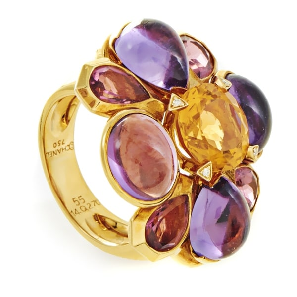 Chanel San Marco Women's Yellow Gold Multi-Gemstone Cocktail Ring 33792423