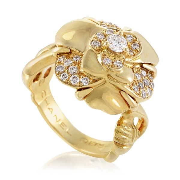 Chanel Camelia Womens Yellow Gold Diamond Flower Ring 33792440