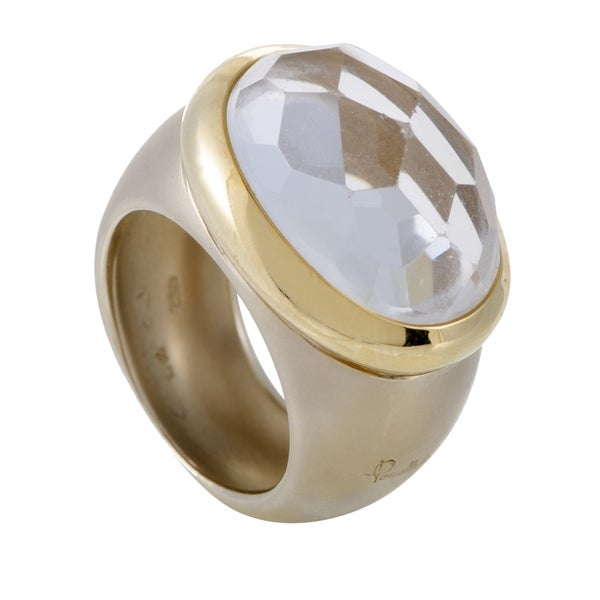 Pomellato Narciso Womens Yellow Gold White Topaz Cocktail Ring 33792456