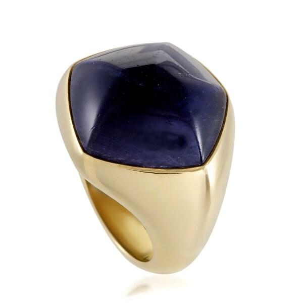 Pomellato Womens Yellow Gold Iolite Cabochon Large Pentagon Ring 33792487