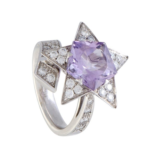 Chanel Comete White Gold Diamond and Amethyst Star Ring 33792560
