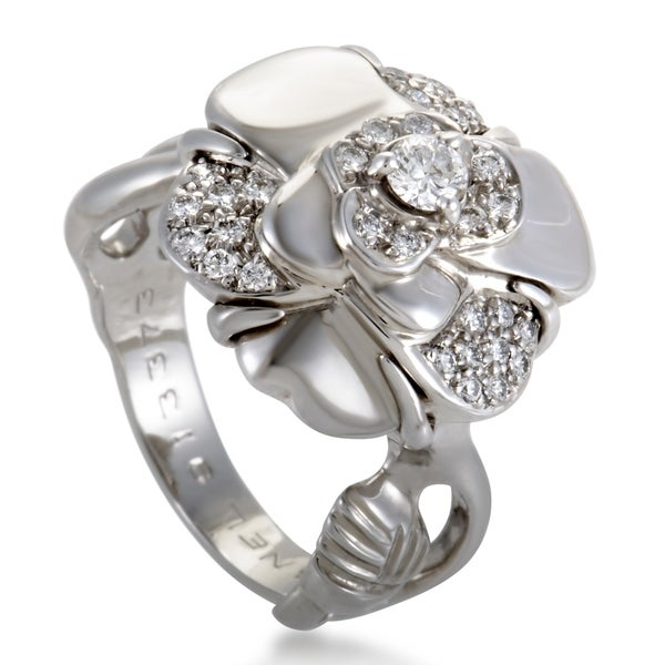Chanel Camelia Small White Gold Diamond Ring 33792659