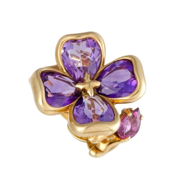 Chanel Camellia Yellow Gold Amethyst and Rhodolite Flower Ring 33792696