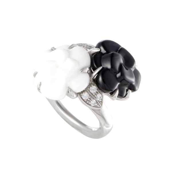 Chanel Camelia White Gold Diamond White Agate and Onyx 2-Flower Ring 33792924