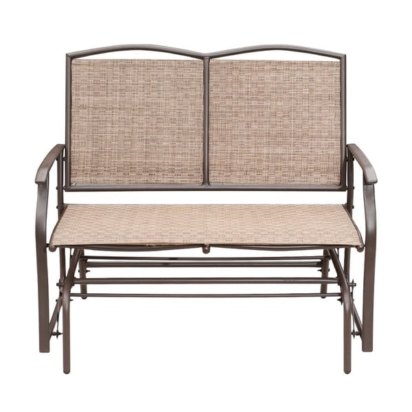 SunLife Outdoor Indoor Glider Loveseat Set Rattan Resin Wicker Patio Bench Furniture Double for 2 Person 33804639