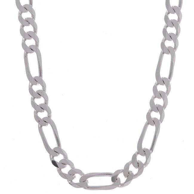 Sterling Essentials Sterling Silver 8mm Diamond-Cut Figaro Chain (22-inch)