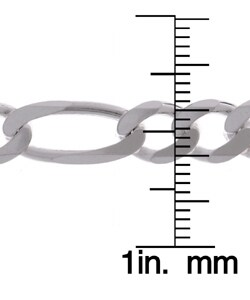 Sterling Essentials Silver 7 mm Diamond-cut Figaro Bracelet (8 Inch)