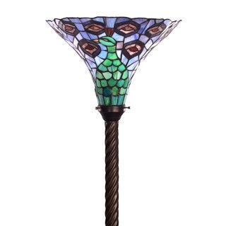 Tiffany-style Peacock Torchier