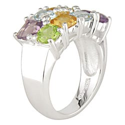 Miadora Sterling Silver Multi Gemstone Ring