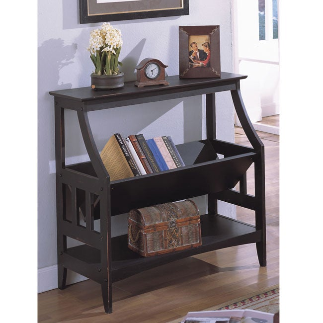 Antique Black Three-shelf Solid Wood Bookshelf - 10340185 - Overstock ...