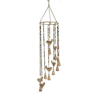Eclectic 26 x 7 Inch Gold Bird Wind Chime with Multi-Colored Beads