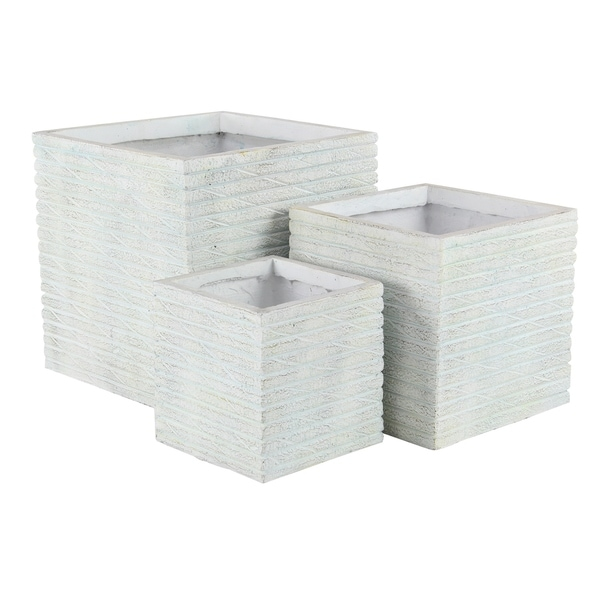 Set of 3 Farmhouse 11, 14, and 18 Inch Square Planters 33897691