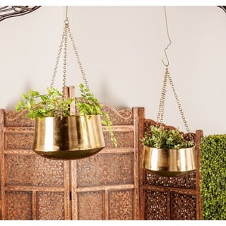 Set of 2 Modern 5 and 7 Inch Round Gold Hanging Planters by Studio 350