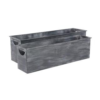 Set of 2 Farmhouse Rectangular Dark Gray Metal Planters by Studio 350
