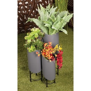 Set of 3 Modern Cylindrical Dark Gray Metal Plant Stands by Studio 350