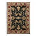 Handmade Tabriz Black/ Burgundy Wool and Silk Rug (8' x 11')