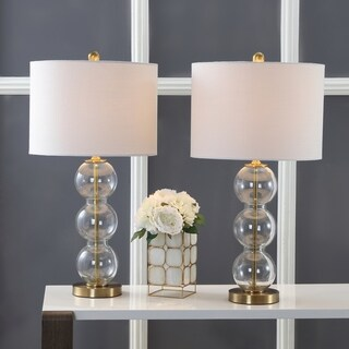 """Bella 27"""" Glass Triple-Sphere LED Table Lamp, Clear/Brass (Set of 2) by JONATHAN Y"""