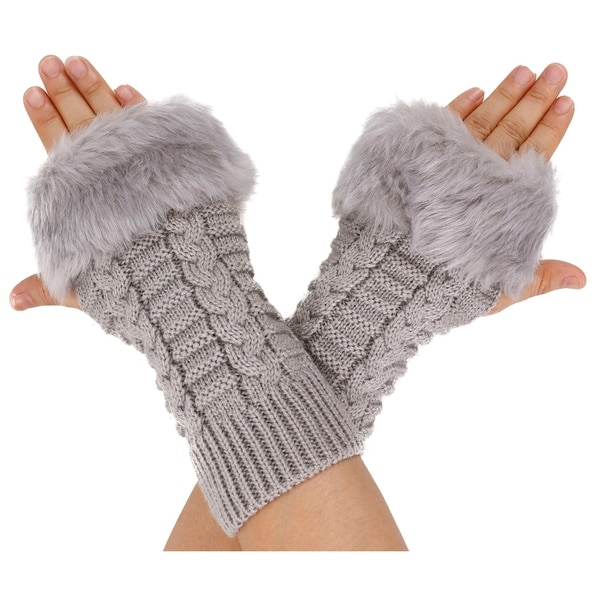 Winter Warmer Faux Knitted Hand Wrist Fingerless Gloves, Light Grey2 33906171