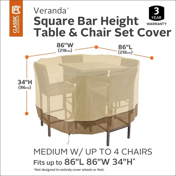 Classic Accessories Veranda Square Bar Table & Chair Set Cover 33915476