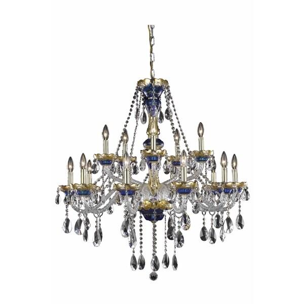Fleur Illumination Blue/Goldtone/Clear Steel/Glass/Crystal 15-light Chandelier 33916996