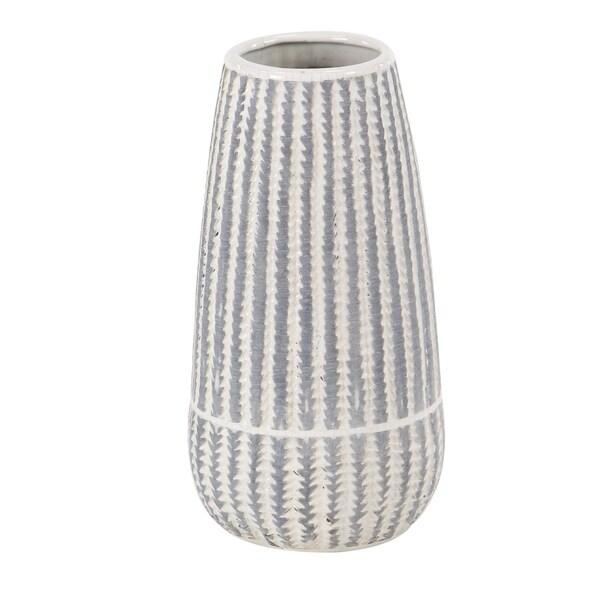 Modern 13 x 7 Inch Cylinder-Shaped Ceramic Ribbed Vase 33921390