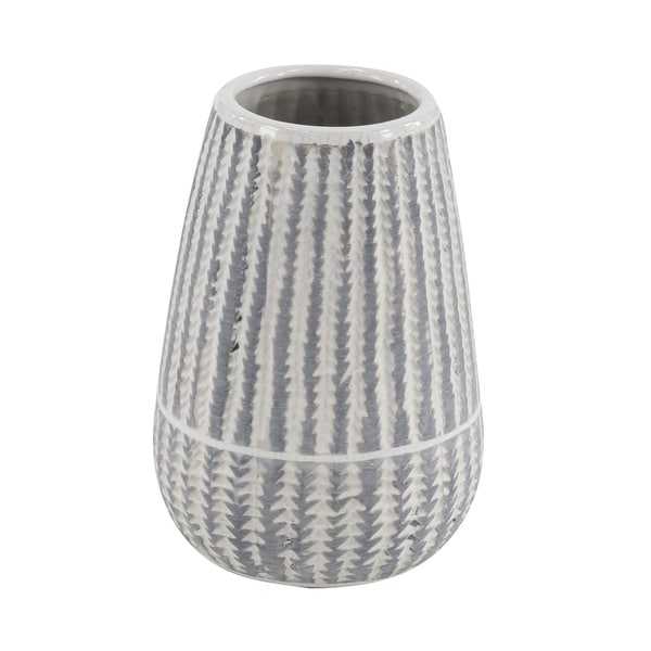 Modern 10 x 6 Inch Cylinder-Shaped Ceramic Ribbed Vase 33921506