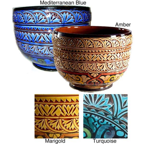 Mediterranean Ceramic Planter (Morocco)