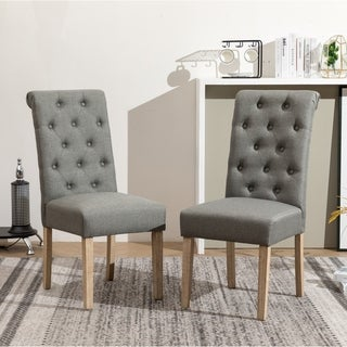 Copper Grove Schwalbach Wood Tufted Parsons Dining Chairs (Set of 2)