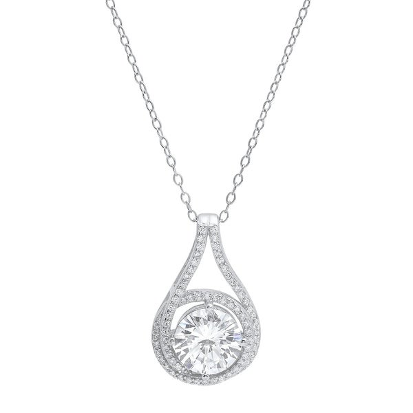 Pori Jewelers Halo Love Knot Pendant in Sterling Silver wCrystals by Swarovski Elements 33930959