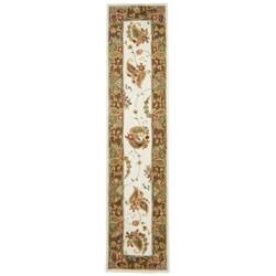 Handmade Tabriz Ivory/ Sage Wool and Silk Runner (2'3 x 10')