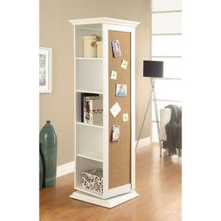 """Porch & Den Overbrook White Cork Board Storage Cabinet - 20.50"""" x 20.50"""" x 68"""""""