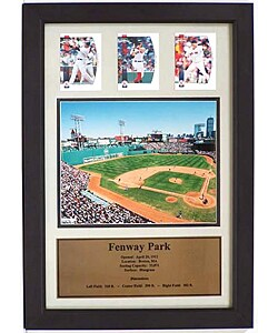 Three Red Sox Cards and Fenway Park Photo in Frame