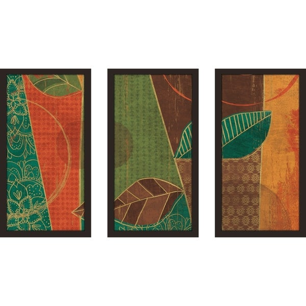 "Veronique Charron ""Bohemian Leaves III""  Framed Plexiglass Wall Art Set of 3 33950884"