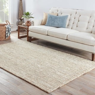 The Gray Barn Cross Hands Natural Solid White/ Tan Area Rug - 2' x 3'