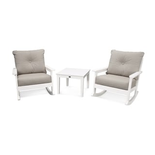 POLYWOOD® Vineyard 3-Piece Outdoor Deep Seating Rocking Chair Set with Table