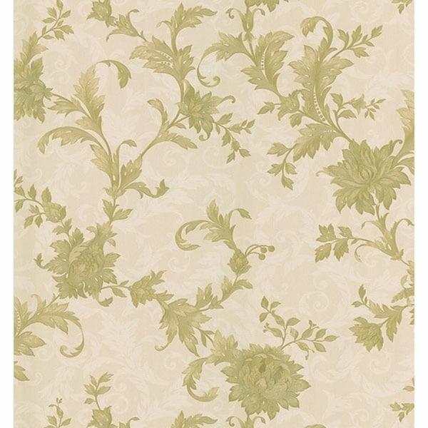 Emeline Beige Jacobean Scroll Wallpaper