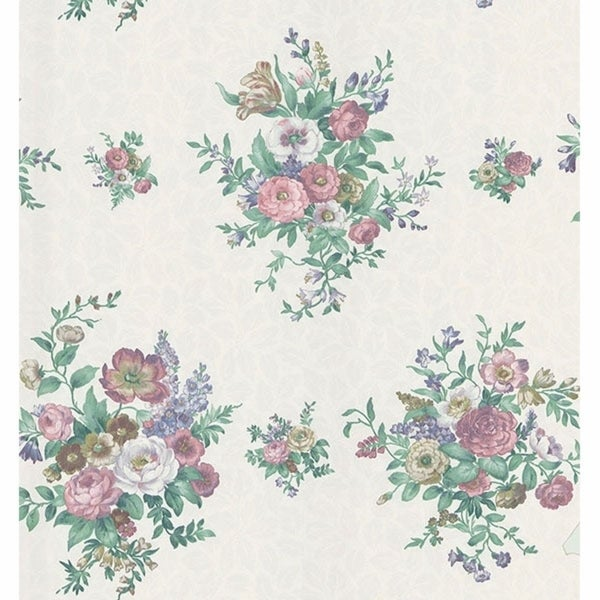 Satin Fleur Purple Large Toss Wallpaper