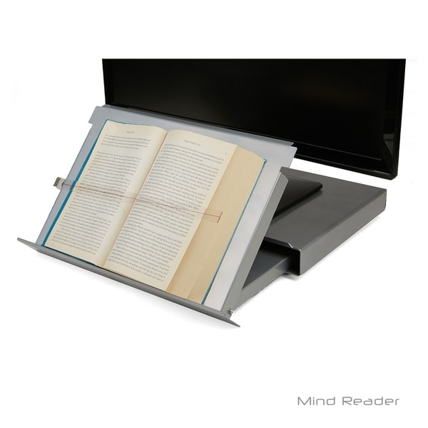 Mind Reader Metal Monitor Stand Riser with Resting Document Holder Easel, Silver 33980013