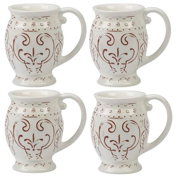 Certified International Terra Nova White 20-ounce Mugs (Set of 4) 33981125