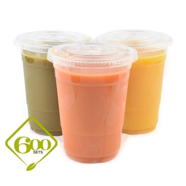 16 oz PET Cups with Lids (600) 33983355