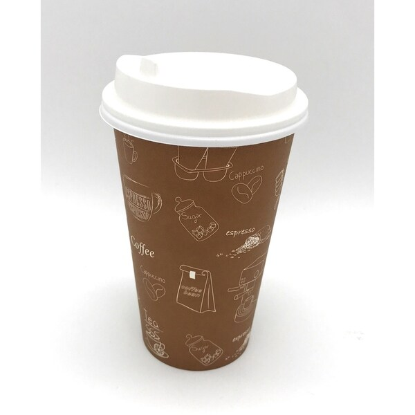 16 oz Single Wall Hot Paper Cups with White Lids (1000) 33983380