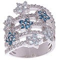Glitzy Rocks Sterling Silver Multicolor Topaz Flower Ring