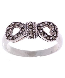 Glitzy Rocks Sterling Silver Marcasite Bow Ring